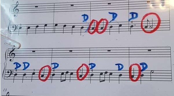 Coloured pens on music